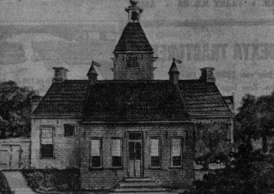 Tekening van de vermoedelijke achterzijde van het huis Vredeveld op landgoed Vredeveld, later Valkenstijn, ten tijde van Petrus Hofstede (1817)