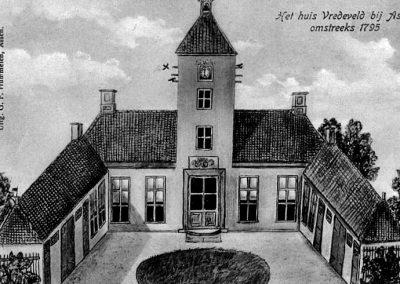tekening van havezate Vredeveld (later Valkenstijn genoemd en na 1952 adres Amelte 2) te Assen. De zijvleugels en de toren zijn tussen 1834 en 1842 afgebroken